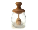 Clear Glass Honeypot with Wooden Dipper